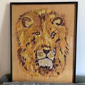 Huge vintage mid century modern lion embroidery